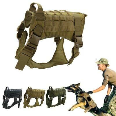 AU35.36 • Buy Tactical Police-K9 Training Dog Harness Military Adjustable Molle Nylon Vest