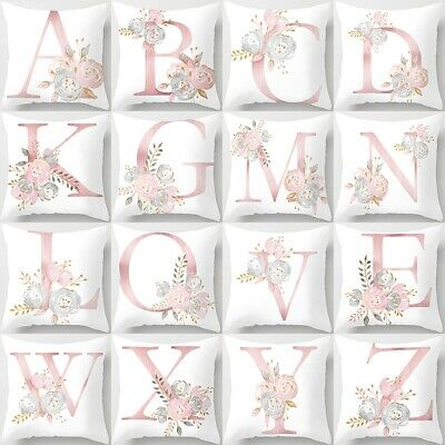 Cushion Cover A-Z Initials Single Letter Pillow Case Alphabet Bedroom Home Decor • 2.19£
