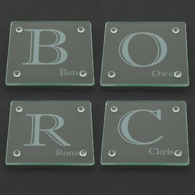 Personalised Glass Coaster, Custom Name Laser Engraved 100mm Coffee Birthday • 3.99£
