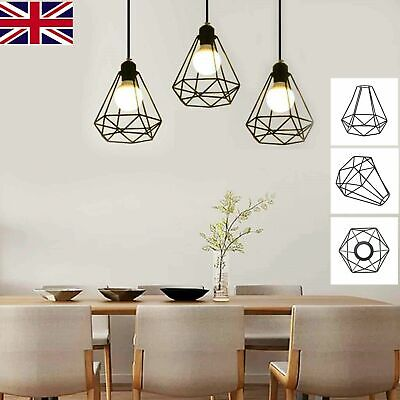 £9.45 • Buy New Metal Industrial Wire Cage Style Retro Ceiling Pendant Light Lamp Shade UK