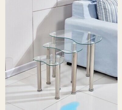 Nest Of Tables Clear Glass Three Piece Set Lamp Side End Coffee Table Tube Legs • 44.99£