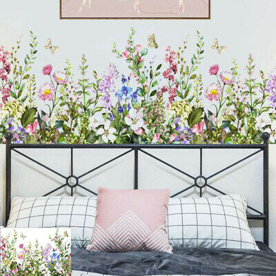 DIY Tropical Leaves Wall Sticker Butterfly Flower Plant Decal Living Room Home • 3.55£