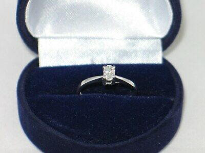 18ct White Gold Quarter Carat RARE OVAL DIAMOND SOLITAIRE Ring Size J With Box • 289£