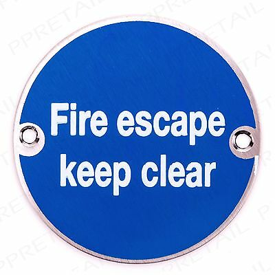 Stainless Steel FIRE ESCAPE KEEP CLEAR 3  Sign Health & Safety Door Notice Plate • 8.39£