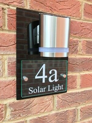 £59.95 • Buy Modern House Sign Plaque Door Number Street Glass Acrylic House Name Solar