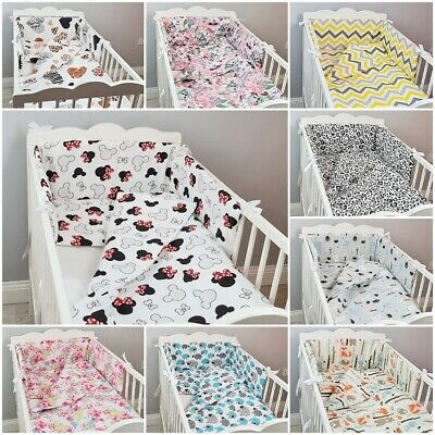 3 Pc LUXURY COT/COT BED BABY BEDDING SET Bumper Quilt Pillowcase Animals Forest • 15.99£