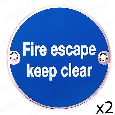 2x FIRE ESCAPE KEEP CLEAR Stainless Steel Health+Safety Warning Notice Door Sign • 14.39£