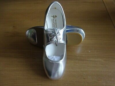 New - Silver Pu Tap Dance Shoes Toe Taps Only Low Heel Girls Uk Size 2 • 9.99£