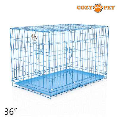 £44.99 • Buy Dog Cage 36 Inch Puppy Crate L Cozy Pet Blue Dog Crates Folding Metal Cages