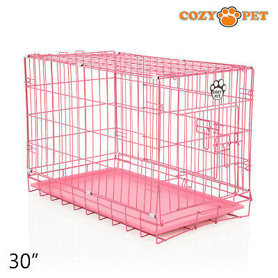 £33.99 • Buy Dog Cage 30 Inch Puppy Crate M Cozy Pet Pink Dog Crates Folding Metal Cages