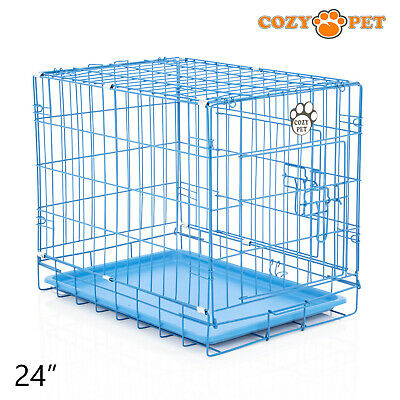 £28.99 • Buy Dog Cage 24 Inch Puppy Crate S Cozy Pet Blue Dog Crates Folding Metal Cages