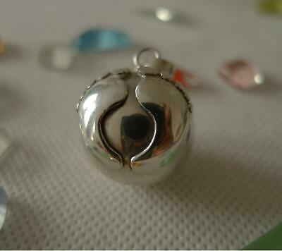 Baby Feet Harmony Ball/Mexican Bola Sterling Silver Pendant 20mm SilverandSoul • 34£