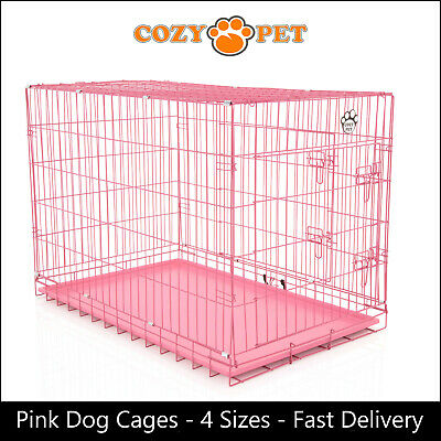 £28.99 • Buy Dog Cage By Cozy Pet  Pink Puppy Crates 4 Sizes S M L XL Cat Carrier Transport