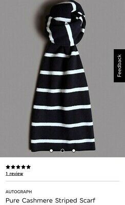 Autograph.  Pure Cashmere.  Striped Scarf. New Without Tags £69.00 • 29.99£