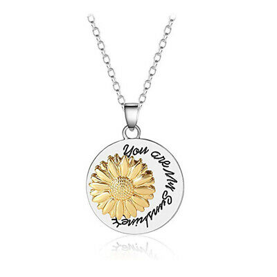 AU11.28 • Buy Jewelry Sunflower Necklace Spin Pendant  You Are My Sunshine  Engraved Letter