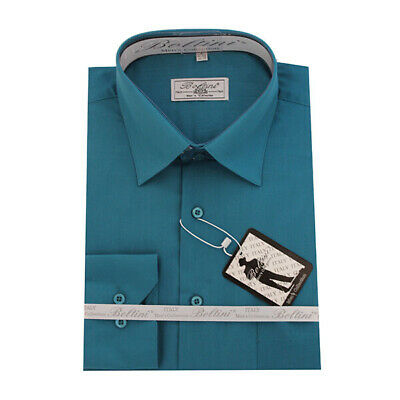 Solid Mens Dress Shirt French Convertible Cuff Boltini Italy - Teal • 7.99£