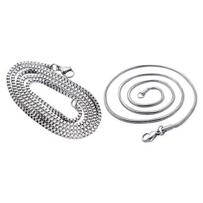 Steel Curb Chain Necklace Snake, Silver Color With 1PC Stainless Steel Silv T7M1 • 3.36£