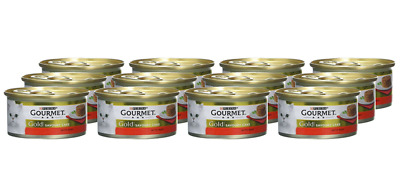 Gourmet Gold Wet Cat Food Savoury Cake Beef Can Adult 85 G Pack Of 12 Bulk Value • 7.76£