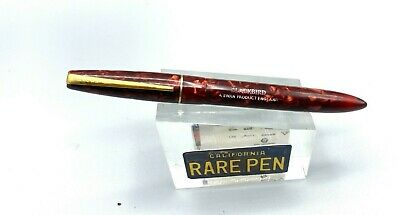 Vintage Mabie Todd BLACKBIRD Fountain Pen RED Marble Celluloid #2 14K G Nib • 114.59£