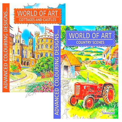 Adult Colouring Books World Of Art Country Scenes Cottages Castles A4 SET OF 2 • 4.49£