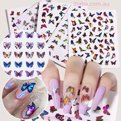 AU4.99 • Buy Holographic Butterfly Nail Decor Decal Sticker Nail Art Adhesive Nail Wrap Bulk