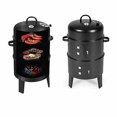Smoker BBQ Charcoal Grill Portable Outdoor Barbecue Meat Food Cooking Drum Oven • 34.99£
