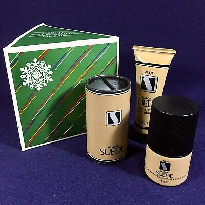 $89.95 • Buy Collectable Vintage 1984 Avon BLACK SUEDE Christmas Gift Collection 3 Piece Set