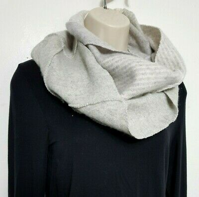 100% Pure Cashmere Cowl Shawl Scarf Snood Grey Handmade Recycled 551 • 16.99£