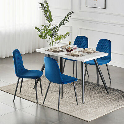 AU240 • Buy Dining Table And 4 Blue Velvet Chairs Set With Metal Legs Kitchen Lounge Office