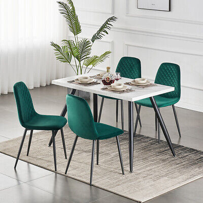 AU120 • Buy Dining Table And 4 Green Velvet Chairs Set With Metal Legs Kitchen Lounge Office