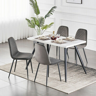 AU120 • Buy Dining Table And 4 Velvet Chairs Set With Metal Legs Kitchen Restaurant Lounge
