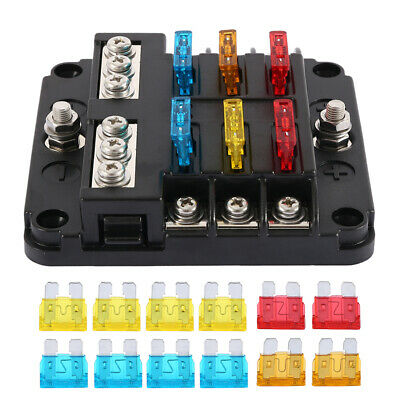 AU19.66 • Buy 6-Way Blade Fuse Box Auto Block Holder LED Indicator Kit 12V 32V For Car Boat