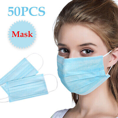 AU15.46 • Buy 50pcs BLACK Face Mask 3 Layer Mouth Masks Anti Bacterial Filter Disposable