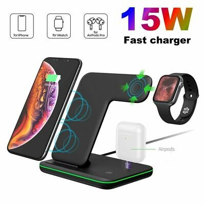 AU27.96 • Buy 3in1 Qi 15W Fast Wireless Charger Stand Dock For IWatch 6/5/4/3/2/1 IPhone 11 XS