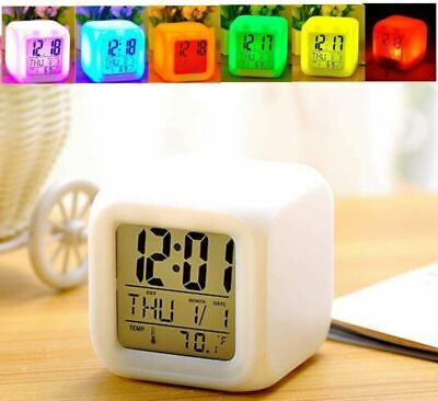 AU8.88 • Buy 2020 Alarm Clock 7 Colour LED Change Digital Glowing Night Light For Kid Bedroom