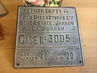 £18.99 • Buy Fry's Diecastings Ltd Bede Estate ,Co Durham, Advertising Box Or Crate Plaque