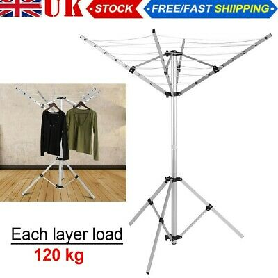 4 Arm Rotary Clothes Airer Freestanding Washing Line Portable Aluminium Camping • 23.69£