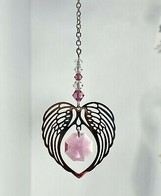 Wild Things Angel Wing Heart Ornament Birthstone Rose • 9.50£