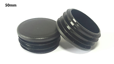 50mm-10pcs Round Plastic Black Blanking End Cap Caps Tube Pipe Inserts Plug • 5.80£
