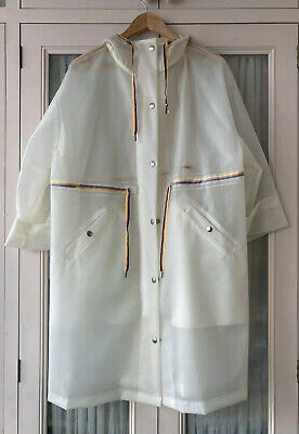 £60 • Buy MIH JEANS Clear Rainbow Trim Rain Coat Mac ONE SIZE VG CONDITION