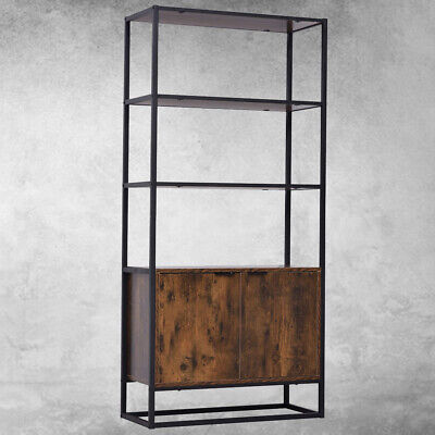 £84.80 • Buy Vintage Tall Bookcase Cabinet Industrial Display Storage Shelving Unit Furniture