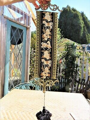 Vintage ~CORONA DECOR CO~ WALL TAPESTRY Bell Pull~Hanging Textile W/ BRASS ENDS • 34.61£
