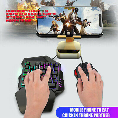 Backlight One-Hand Gaming Keyboard And Mouse Set Wired For PC Computer Laptop UK • 13.19£