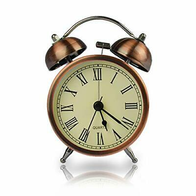Coolzon Retro Bedside Alarm Clock Non Ticking Battery Powered, Vintage Twin Bell • 13.23£