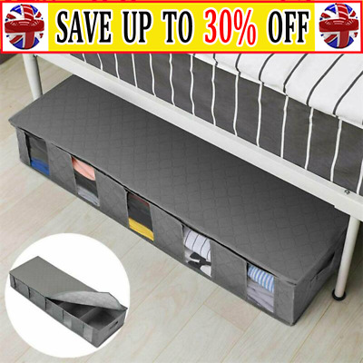 Hot Large Capacity Under Bed Storage Bag Box 5 Compartments Clothes Organizer AR • 7.79£