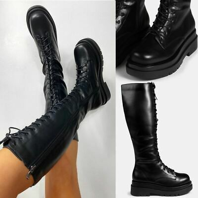 £32.99 • Buy Womens Ladies Lace Up Knee Boots Calf High Shoe Grunge Chunky Sole Size Zip New