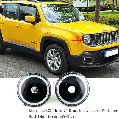 $44.56 • Buy LED White CCFL Halo 7  Round Black Chrome Projector Headlights Lamps Left+Right