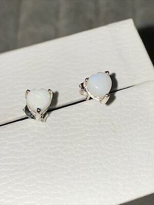 925 Sterling Silver  Stud Earrings With 5 Mm White Opal • 7£