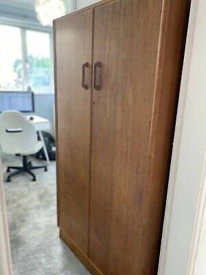 Vintage 1950s G Plan Brandon Light Oak Veneer Double Door Wardrobe With Rail • 50£