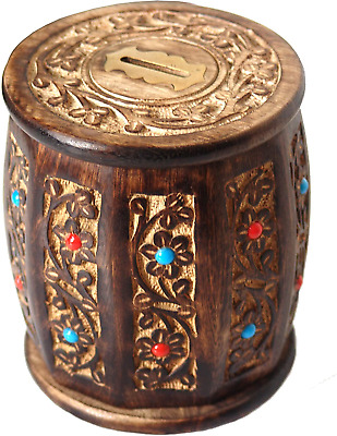 Decorative Antique Hand Crafted Wooden Money Bank Safe Piggy Bank For Girls & X • 10.86£